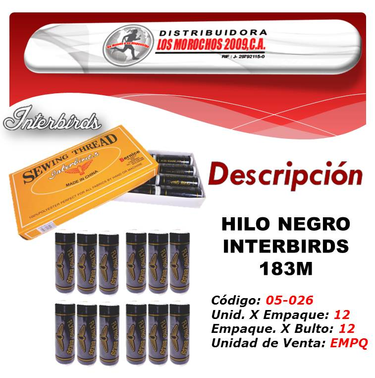 HILO NEGRO INTERBIRDS 183M. 1X 12UND  (LY233)
