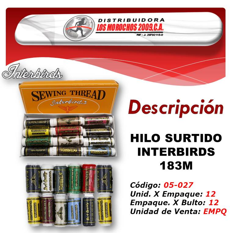 HILO SURTIDO INTERBIRDS 183M. 1X 12UND  (LY234)