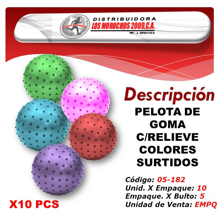 PELOTA DE GOMA C/RELIEVE COLORES SURTIDOS 10X1