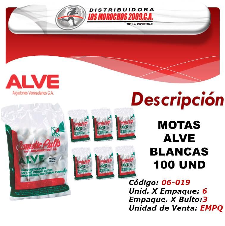 MOTAS ALVE BLANCAS 100 UND 6X1