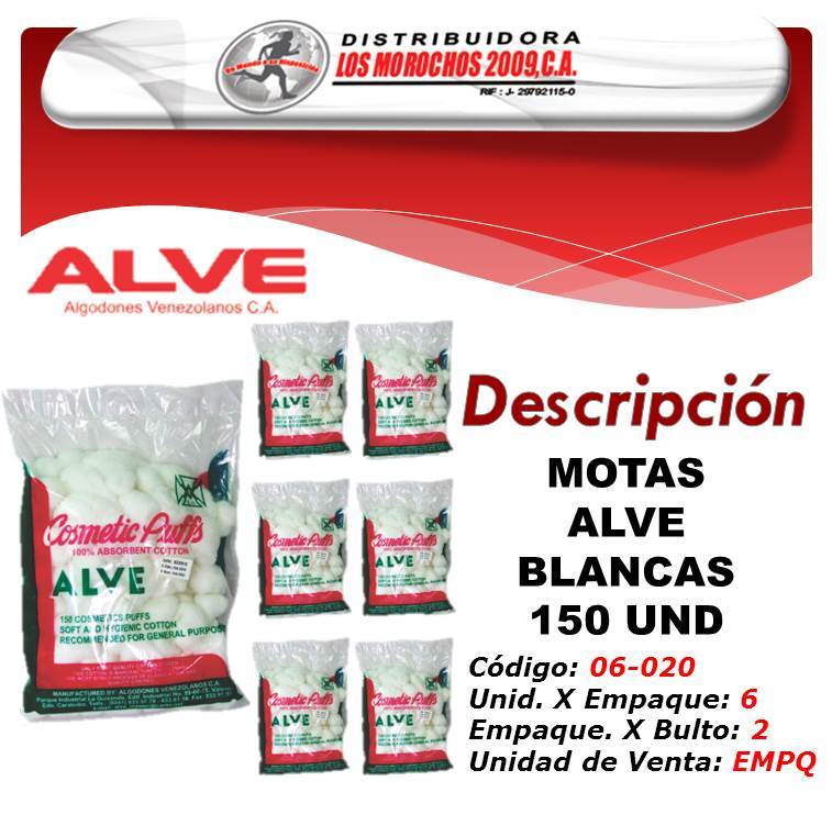 MOTAS ALVE BLANCAS 150 UND  6X1