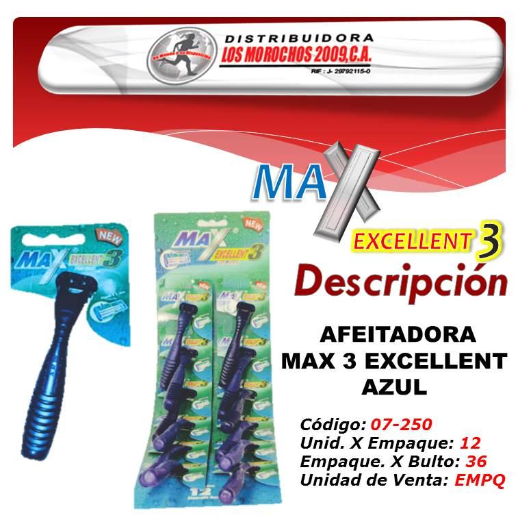 AFEITADORA MAX 3 EXCELLENT AZUL 12X1