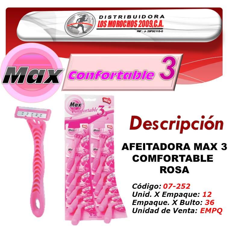 AFEITADORA MAX 3 COMFORTABLE ROSA 12X1